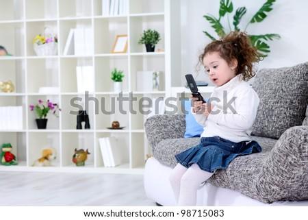 Little girl using smart phone