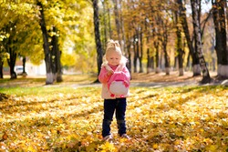 Little girl walking in autumn park. Child closes a backpack snake on a background of autumn landscape.