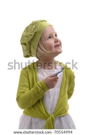 little girl washing her teeth on white background