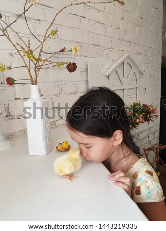 little girl watching and playing with a little yellow chicken #1443219335
