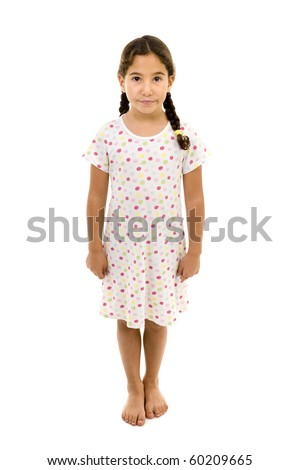 little girl wearing a nightgown isolated on white - stock photo