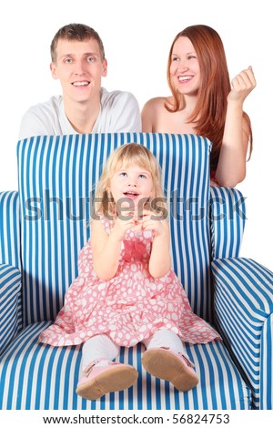 little girl wearing dress, pantyhose and shoes is sitting on chair. her smiling father and mother behind chair. focus on little girl's face. isolated.