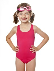 little girl wearing swimsuit isolated on white background