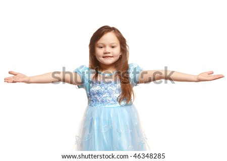 little girl welcome gesture