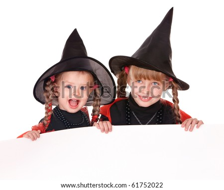 Little girl  witch holding banner . Isolated.