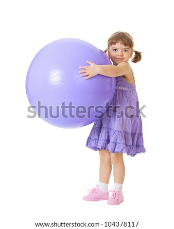 Little girl with a big purple ball isolated on white background