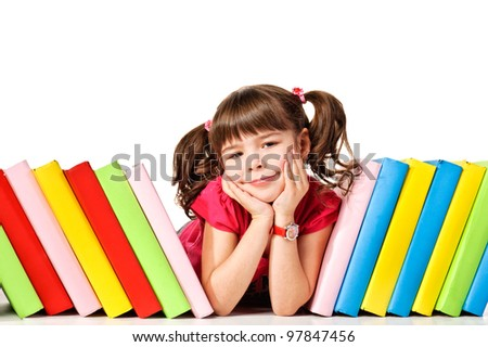 little girl with a books on the floor looking up. Isolated on white background
