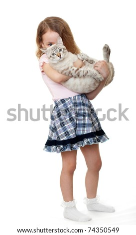 Little girl with a cat.