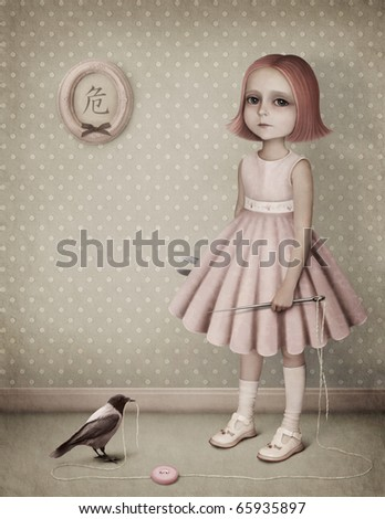 Little girl with a needle thread and a raven.