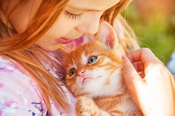 Little girl with a red kitten in hands close up.  Best friends. Interaction of children with pets.