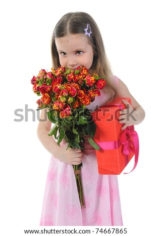 little girl with a rose. Isolated on white background