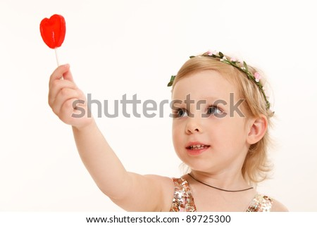 little girl with a sweet heart