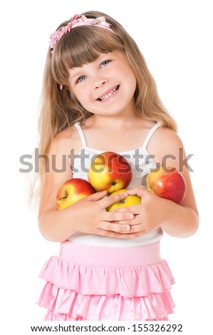 Little girl with apple, isolated on white background