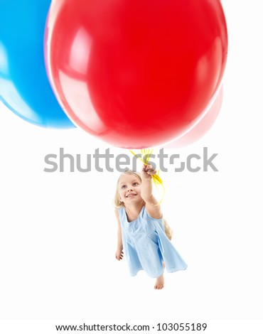 Little girl with balloons isolated