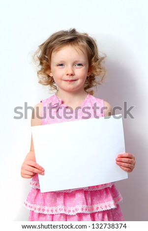 little girl with banners