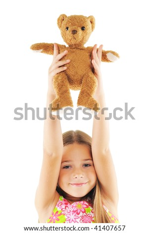 Little girl with bear toy. On white background
