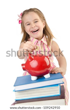 Little girl with books on white