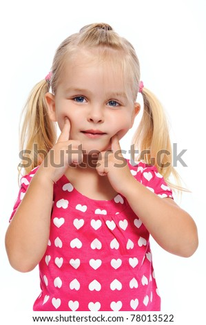 little girl with chubby cheeks pushes her face, isolated on white