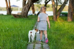 Little girl with dog Jack Russell terrier walks on track to the lake against the backdrop of nature