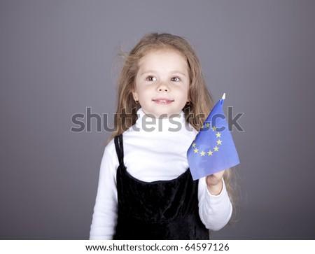 Little girl with european union flag. Studio shot.