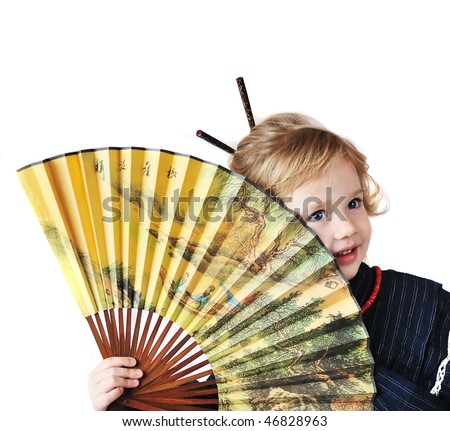 little girl with fan wearing like oriental girl