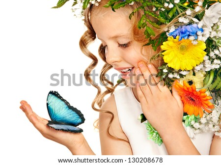 Little girl with flower hairstyle and butterfly. Isolated. - stock photo