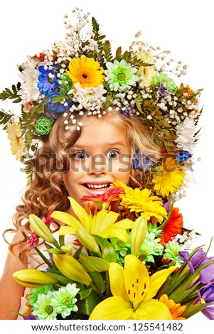Little girl with flower hairstyle. Isolated.