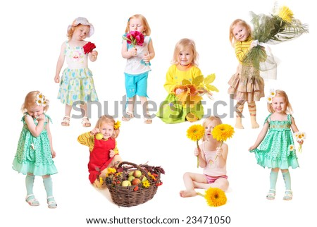 little girl with flowers  isolated on white