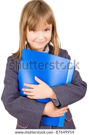 Little girl with folder - stock photo