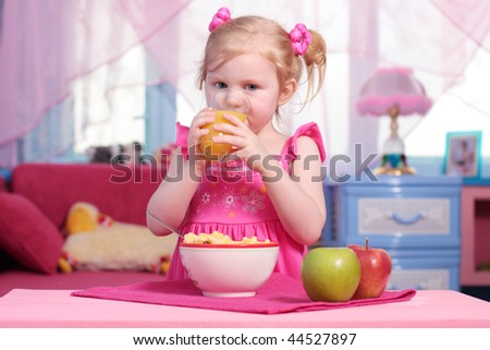 little girl with food