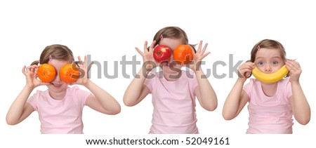Little girl with fruits isolated on white background