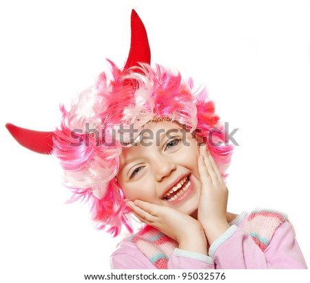 little girl with funny carnival - halloween mask