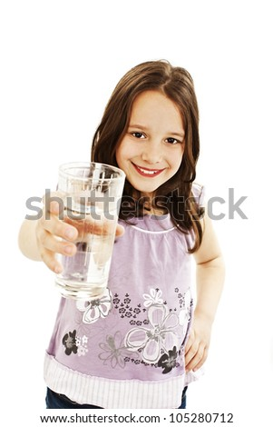 Little girl with glass of water.  Isolated on white background.