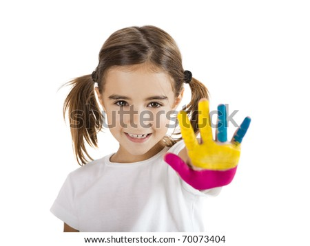 Little girl with hand painted, isolated on white