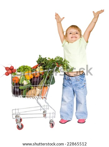 Little girl with healthy food showing how tall she will grow - isolated - stock photo