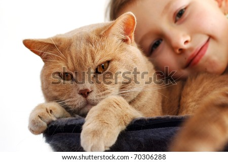 Little girl with her tomcat