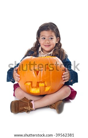 Little girl with jack-o-lantern isolated on white