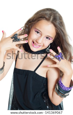 little girl with jewelry isolated on white