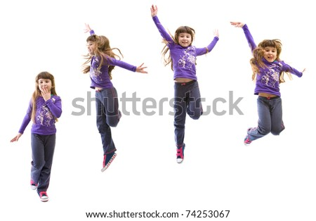 little girl with long brown hair jumping, isolated on white background