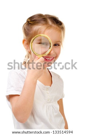 little girl with magnifier isolated on a white background
