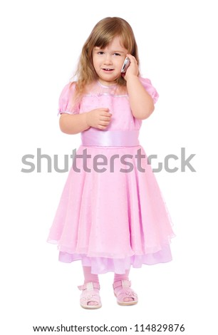 Little girl with mobile phone isolated
