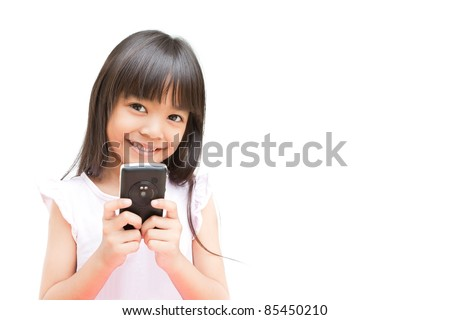 Little Girl with Mobile Phone Isolated on White Background