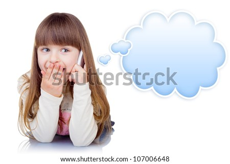 Little girl with phone isolated on white background. Blue speech bubble at the top of the photo for your text