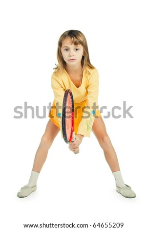 little girl with plays tennis