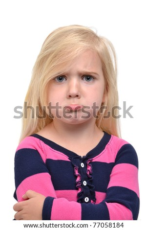 little girl with sad face