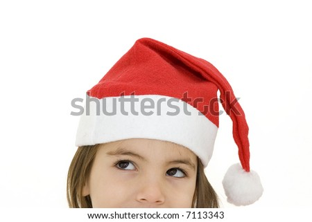 little girl with santa hat isolated on white
