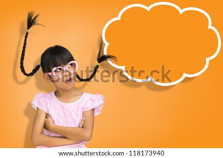 Little girl with sign blank speech bubble banner