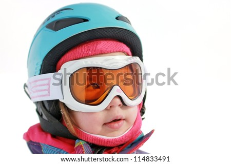 Little girl with ski helmet