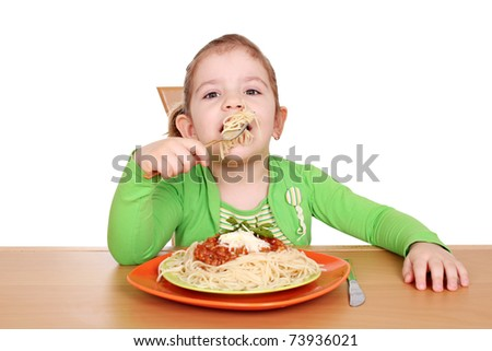 little girl with spaghetti