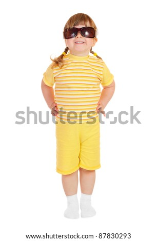 Little girl with sun glasses isolated